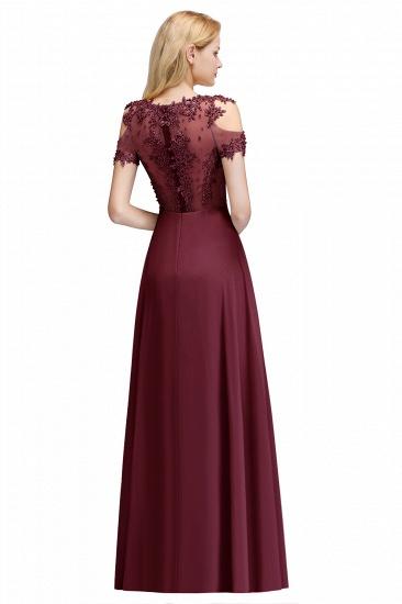 BMbridal Short Sleeve Lace Appliques Long Prom Party Dress_4