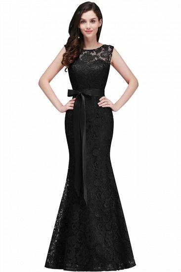 BMbridal Ribbon Sash Floor-length Sleeveless Lace Mermaid Evening Dress_5