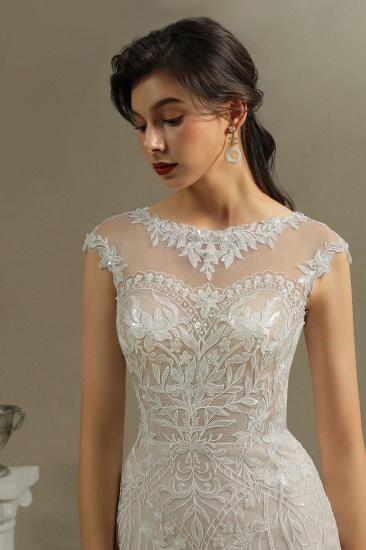 BMbridal Cap Sleeves Lace Mermaid Long Wedding Dresses_4