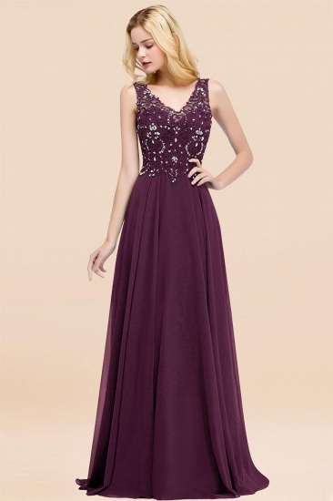 BMbridal Affordable Lace V-Neck Navy Bridesmaid Dresses With Appliques_20