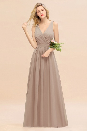 BMbridal Affordable V-Neck Ruffle Long Grape Chiffon Bridesmaid Dress with Bow_16