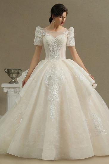BMbridal Glamorous Short Sleeve Lace Ball Gown Wedding Dress_3