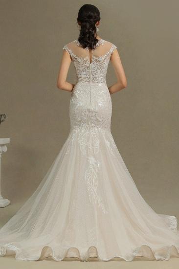 BMbridal Cap Sleeves Lace Mermaid Long Wedding Dresses_2