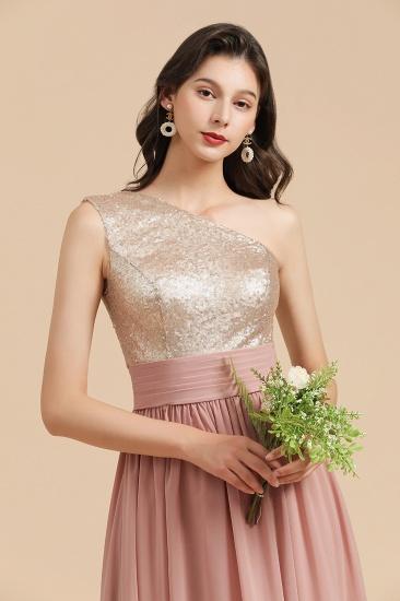 BMbridal One Shoulder Sequins Dusty Rose Bridesmaid Dress_9