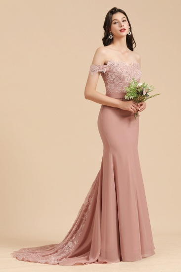 BMbridal Dusty Rose Off-the-Shoulder Lace Bridesmaid Dress_4