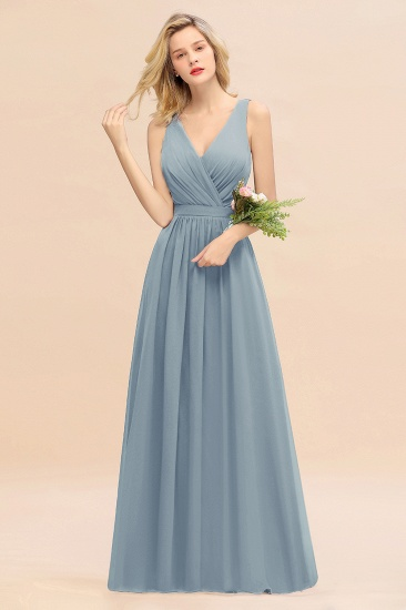 BMbridal Affordable V-Neck Ruffle Long Grape Chiffon Bridesmaid Dress with Bow_40
