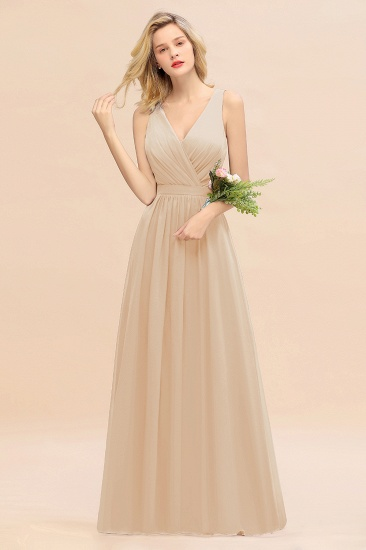 BMbridal Affordable V-Neck Ruffle Long Grape Chiffon Bridesmaid Dress with Bow_14