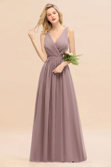 BMbridal Affordable V-Neck Ruffle Long Grape Chiffon Bridesmaid Dress with Bow_37