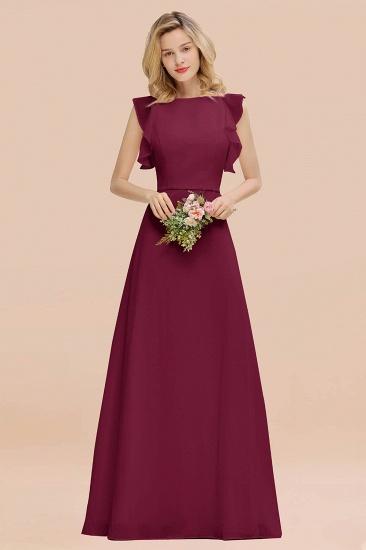 BMbridal Simple Jewel Draped Sleeves Blushing Pink Bridesmaid Dress Online_44