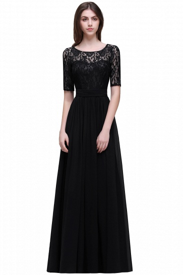 BMbridal Half-Sleeve Lace Long Chiffon Evening Dress_7