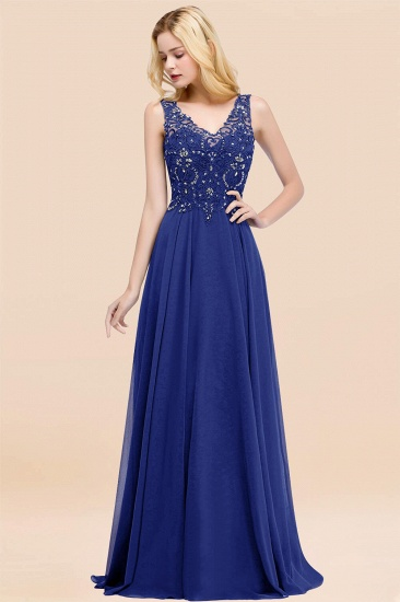 BMbridal Affordable Lace V-Neck Navy Bridesmaid Dresses With Appliques_26