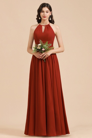 BMbridal Rust Halter Long Chiffon Bridesmaid Dress On Sale_5