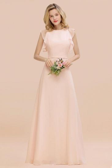 BMbridal Simple Jewel Draped Sleeves Blushing Pink Bridesmaid Dress Online_5