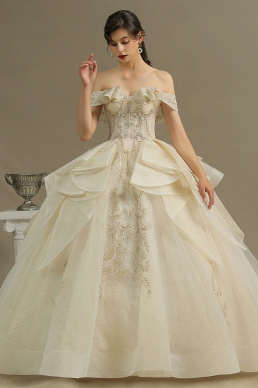BMbridal Off-the-Shoulder Princess Wedding Dress With Lace Appliques