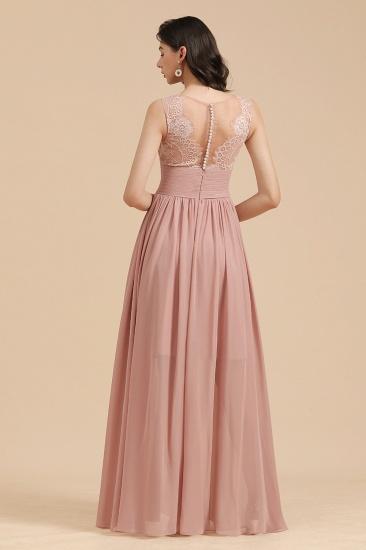 BMbridal Dusty Rose Chiffon V-Neck Bridesmaid Dress Long_3
