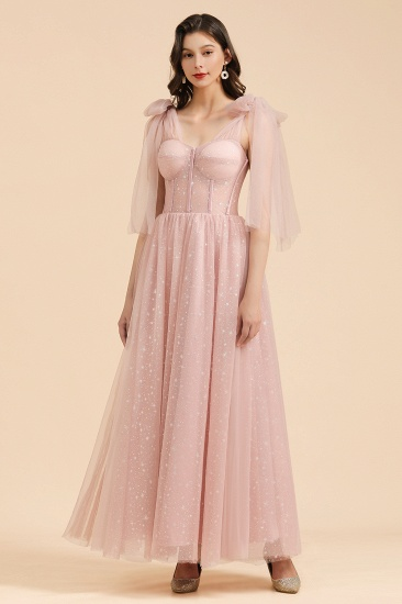 BMbridal V-neck Tulle Long Evening Pink Prom Dress Online