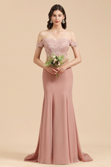 BMbridal Dusty Rose Off-the-Shoulder Lace Bridesmaid Dress