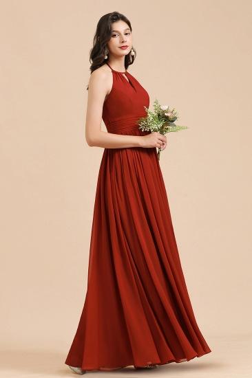 BMbridal Rust Halter Long Chiffon Bridesmaid Dress On Sale_7