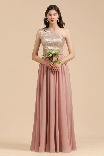 BMbridal One Shoulder Sequins Dusty Rose Bridesmaid Dress_7