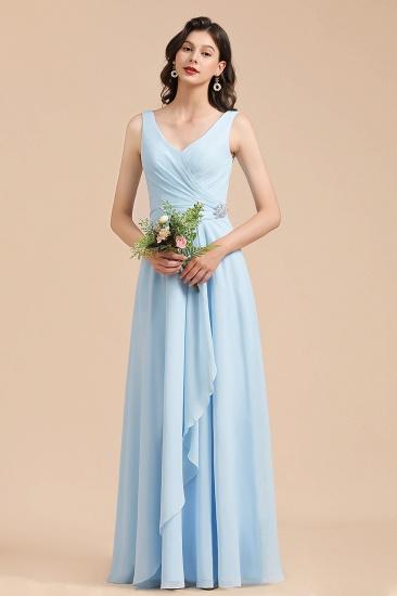 BMbridal Sky Blue Chiffon Long Bridesmaid Dress Ruched_4