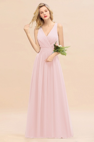 BMbridal Affordable V-Neck Ruffle Long Grape Chiffon Bridesmaid Dress with Bow_3