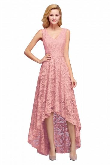 BMbridal A-line Hi-lo V-neck Sleeveless Burgundy Lace Dress_1