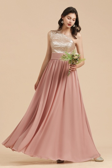 BMbridal One Shoulder Sequins Dusty Rose Bridesmaid Dress_5