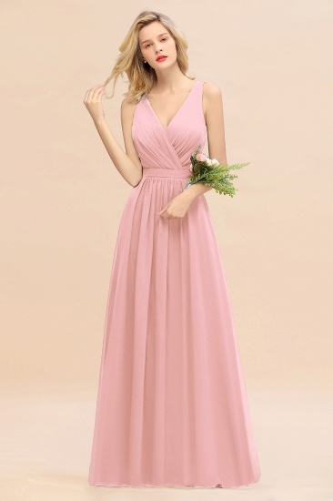BMbridal Affordable V-Neck Ruffle Long Grape Chiffon Bridesmaid Dress with Bow_4