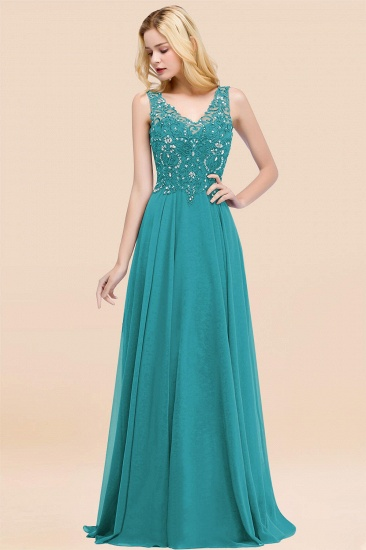 BMbridal Affordable Lace V-Neck Navy Bridesmaid Dresses With Appliques_32