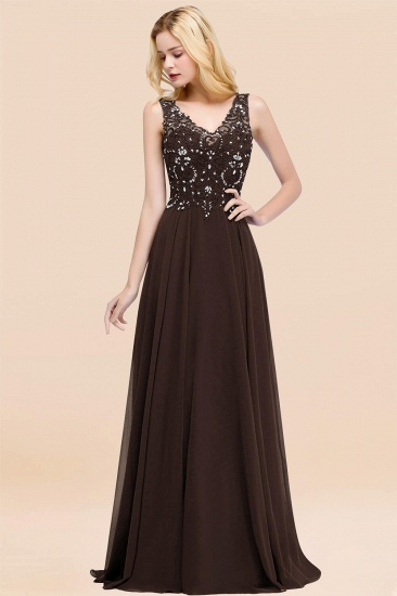 BMbridal Affordable Lace V-Neck Navy Bridesmaid Dresses With Appliques_11