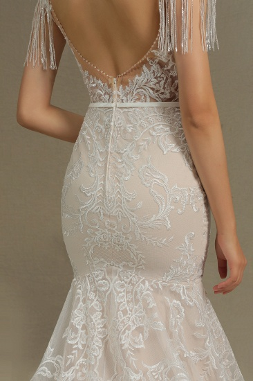 BMbridal Scoop Lace Mermaid Wedding Dress With Feather_8