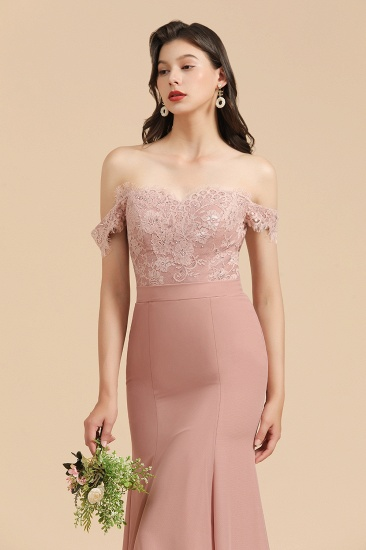 BMbridal Dusty Rose Off-the-Shoulder Lace Bridesmaid Dress_9