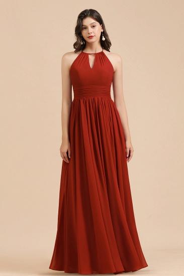 BMbridal Rust Halter Long Chiffon Bridesmaid Dress On Sale_8