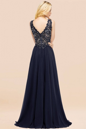 BMbridal Affordable Lace V-Neck Navy Bridesmaid Dresses With Appliques_52