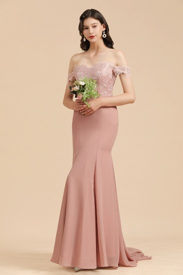 BMbridal Dusty Rose Off-the-Shoulder Lace Bridesmaid Dress_5