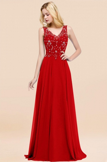 BMbridal Affordable Lace V-Neck Navy Bridesmaid Dresses With Appliques_8