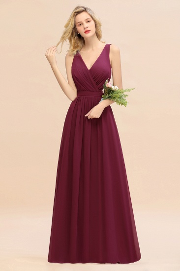 BMbridal Affordable V-Neck Ruffle Long Grape Chiffon Bridesmaid Dress with Bow_44