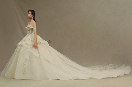 BMbridal Off-the-Shoulder Princess Wedding Dress With Lace Appliques_5