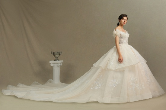 BMbridal Stunning Off-the-Shoulder Lace Brida Gown With Sequins Appliques_6