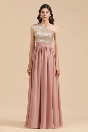 BMbridal One Shoulder Sequins Dusty Rose Bridesmaid Dress_4
