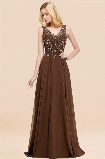BMbridal Affordable Lace V-Neck Navy Bridesmaid Dresses With Appliques_12