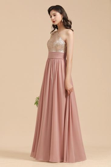 BMbridal One Shoulder Sequins Dusty Rose Bridesmaid Dress_8
