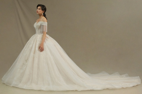 BMbridal Off-the-Shoulder Tassels Ball Gown Wedding Dress With Beads_6
