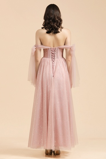 BMbridal V-neck Tulle Long Evening Pink Prom Dress Online_2