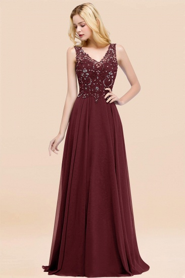 BMbridal Affordable Lace V-Neck Navy Bridesmaid Dresses With Appliques_10