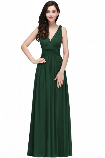 BMbridal Affordable Chiffon V-Neck Burgundy Bridesmaid Dress with Ruffle In Stock_8