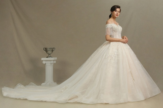 BMbridal Off-the-Shoulder Tassels Ball Gown Wedding Dress With Beads_3