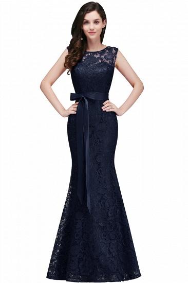 BMbridal Ribbon Sash Floor-length Sleeveless Lace Mermaid Evening Dress_4