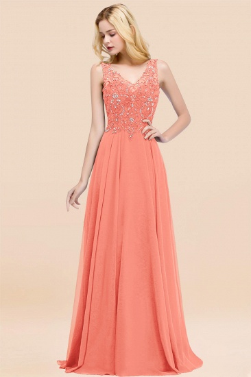 BMbridal Affordable Lace V-Neck Navy Bridesmaid Dresses With Appliques_45