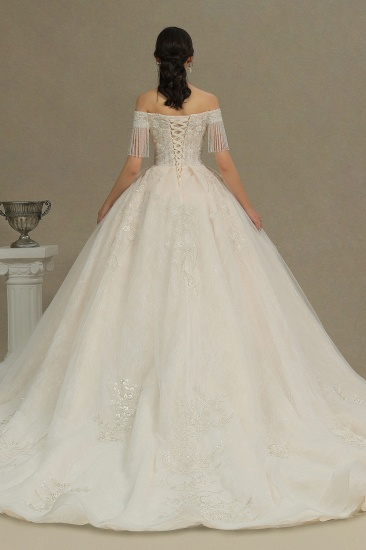 BMbridal Off-the-Shoulder Tassels Ball Gown Wedding Dress With Beads_5